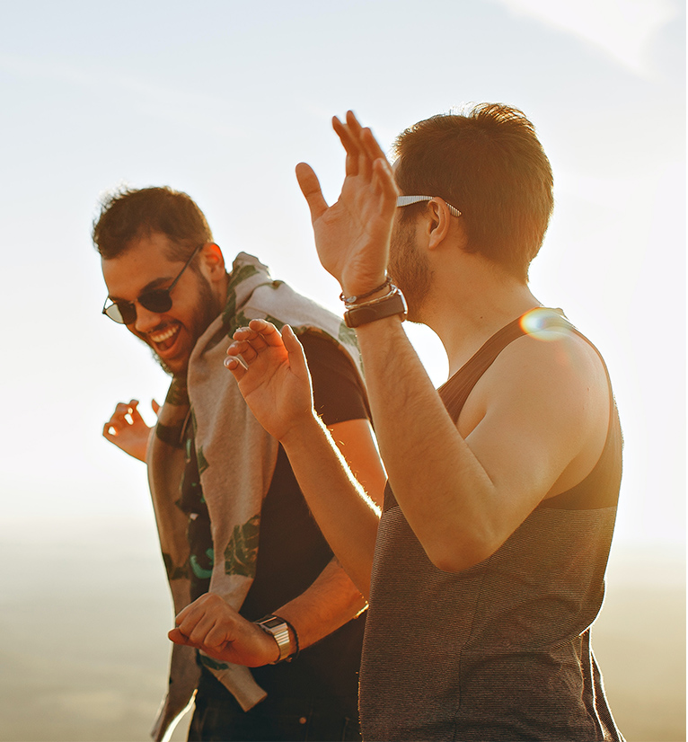 Hero image on residents page showing two friends laughing