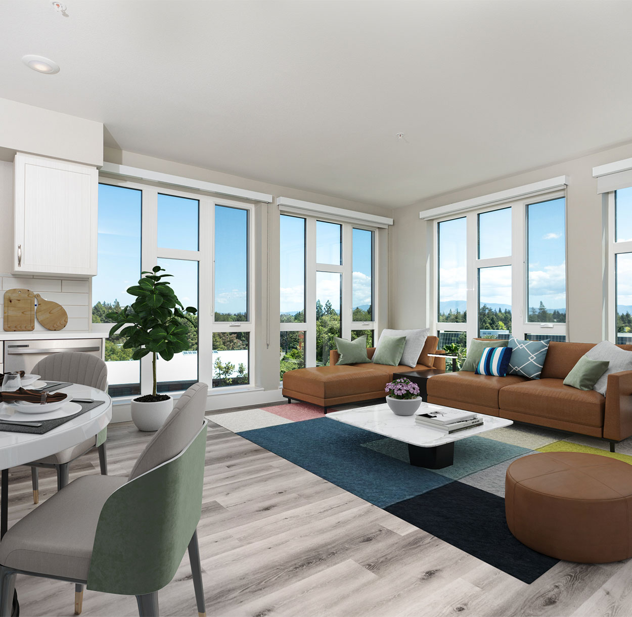 1250 Lakeside apartment living area with wood floor, modern sectional couch, and floor to ceiling windows.